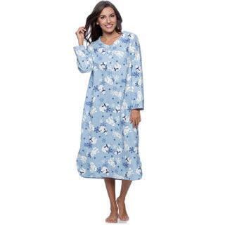 La Cera Women's Polar Bear Print Pull-over Flannel Gown|https://ak1.ostkcdn.com/images/products/9517796/P16696058.jpg?impolicy=medium