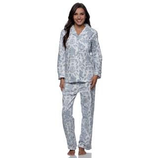 La Cera Women's Blue Floral Print Pajama Set