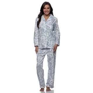 La Cera Women's Blue Floral Print Pajama Set|https://ak1.ostkcdn.com/images/products/9517799/P16696061.jpg?impolicy=medium