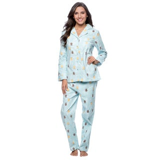 La Cera Women's Blue Owl Print Flannel Pajama Set