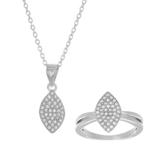 Sterling Essentials Cubic Zirconia Marquise Necklace and Ring Set