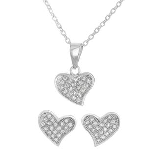 Sterling Essentials Cubic Zirconia Heart Necklace and Earrings Set