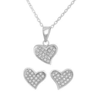 Cubic Zirconia Heart Necklace and Earrings Set
