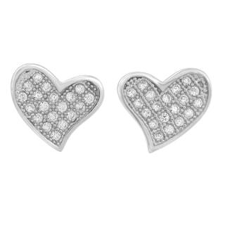 Sterling Essentials Silver Cubic Zirconia Heart Stud Earrings