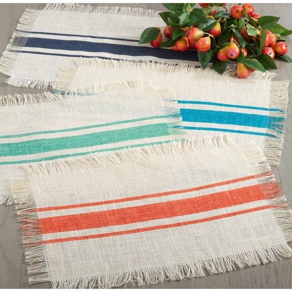 Shop Striped Design Jute Table Runner Set Of 1 Or Placemats Set