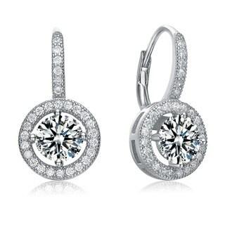 Collette Z Sterling Silver Cubic Zirconia Round Drop Earrings