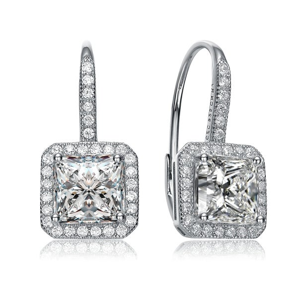 Collette Z Sterling Silver with Rhodium Plated Clear Princess with Round Cubic Zirconia Halo Leverback Earrings. Opens flyout.