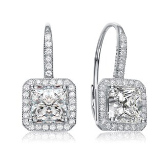 Collette Z Sterling Silver with Rhodium Plated Clear Princess with Round Cubic Zirconia Halo Leverback Earrings