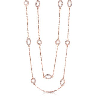 Collette Z Rose Goldtone Sterling Silver Cubic Zirconia Diamond by the Yard Necklace