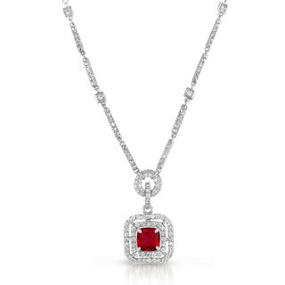 Collette Z Sterling Silver Red and White Cubic Zirconia Square Drop Necklace