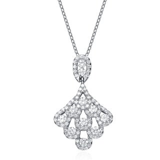 Collette Z Sterling Silver Cubic Zirconia Elegant Dangling Necklace