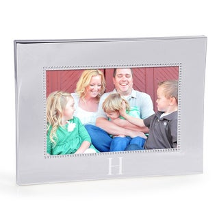 Personalized Horizontal Beaded Silver Picture Frame (4x6) - 4 x 6