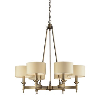Elk Lighting Pembroke 6-light Antique Brass and Silver Drum Shade Chandelier