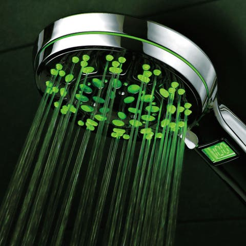 HotelSpa All-Chrome 5-setting LED/ LCD Handheld Shower Head with Lighted LCD Temperature Display, and Automatic Changing LEDs