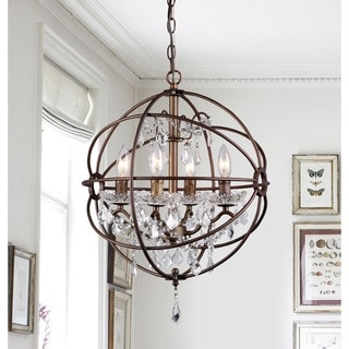 Edwards Antique Bronze 16-inch 4-light Crystal Chandelier