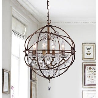 Edwards Antique Bronze 16-inch Crystal Chandelier