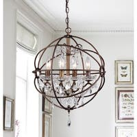 Warehouse of Tiffany Edwards Antique Bronze Metal/Crystal 16-inch 4-light Crystal Chandelier
