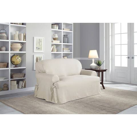 Tailor Fit Relaxed Fit Cotton Duck T-Cushion Loveseat Slipcover