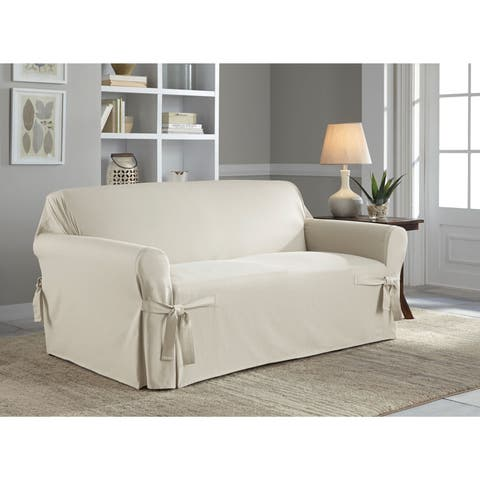 Tailor Fit Relaxed Cotton Duck Loveseat Slipcover