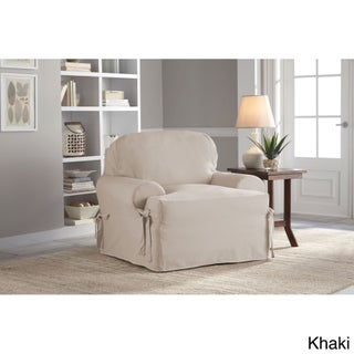 Tailor Fit Relaxed Fit Cotton Duck T-cushion Chair Slipcover (Option: Khaki T-Chair)