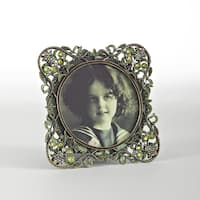 Vintage Green Jeweled Photo Frame