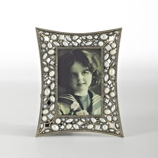 Antique Faux Pearl & Beaded Design Jeweled Photo Frame