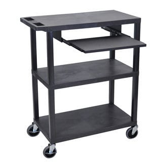 Luxor EA Series Black 3-shelf Presentation Station with Pullout Shelf