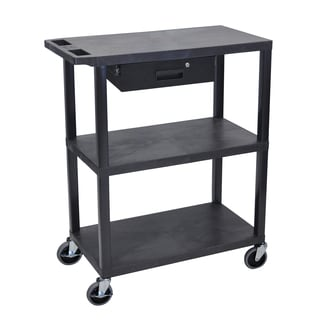 Luxor EA Series Black 3-shelf Presentation Station with Pullout Drawer