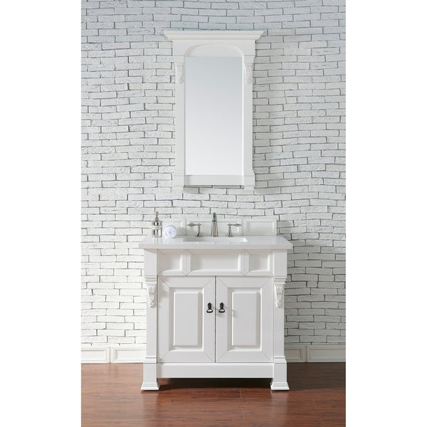 "Brookfield 36"" Cottage White Single Vanity with 2 CM Absolute Black Rustic Granite Top"