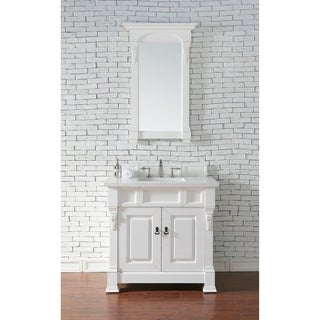 James Martin 35-inch Brookfield White Cottage Single Vanity with Absolute Black Rustic Top