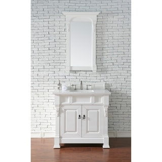 James Martin Furniture 36-inch Brookfield Cottage White Single Vanity with Marble Top