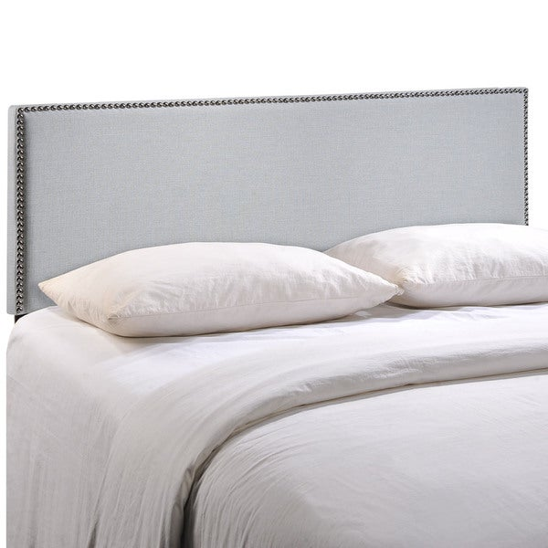 Region Queen-size Nailhead Upholstered Headboard - Free Shipping Today -  Overstock.com - 16696319 - Region Queen-size Nailhead Upholstered Headboard - Free Shipping