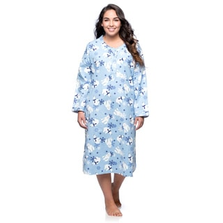 La Cera Women's Plus Size Polar Bear Pullover Night Gown