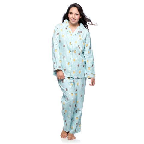 La Cera Women's Plus Size Owl Long Sleeve Pajama Set