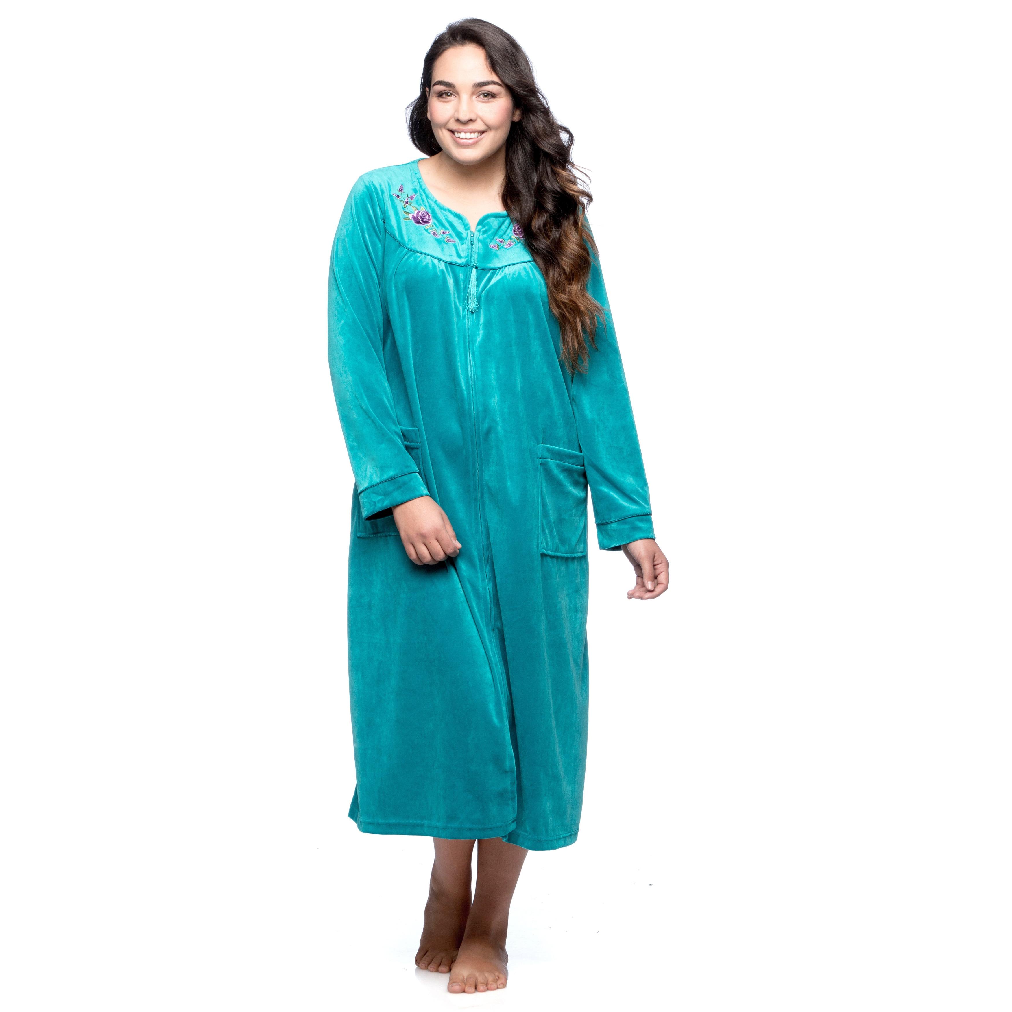 La Cera Womens Plus Size Zip Front Bath Robe On Sale Overstock 9518139 Teal 1x