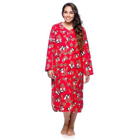 La Cera Women's Plus Size Panda Long Sleeve Pull-over Gown