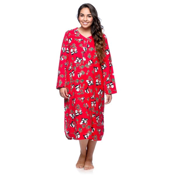 La Cera Women's Plus Size Panda Long Sleeve Pull-over Gown