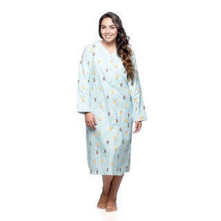 La Cera Women's Plus Size Owl Print Pull-over Gown