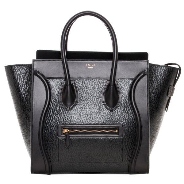 Celine Black Textured Leather Luggage Tote