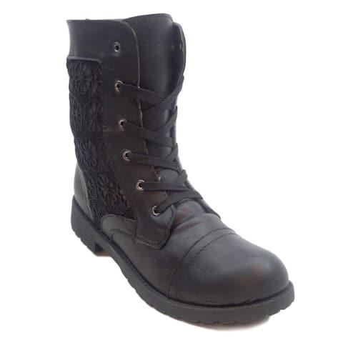 BLUE Women's Booty Lace 2 Black Combat Boots