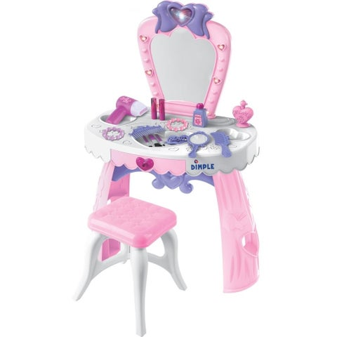DimpleChild Dream Dresser Pink and White Toy Vanity Set
