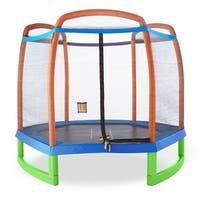 Pure Fun 7ft Kids Trampoline with Enclosure w/ Tic-tac-toe