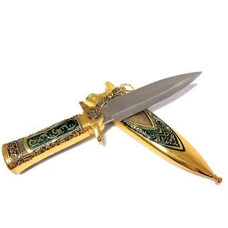 Defender 11-inch Gold or Silver Mongolian Dagger with Sheath
