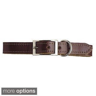 Scott Pet Latigo Leather Border-Stitched Dog Collar