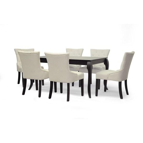 shop epperton black wood 7 piece modern dining set free shipping today overstock 9518297. Black Bedroom Furniture Sets. Home Design Ideas