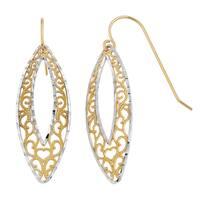 Fremada 14k Two-tone Gold Filigree Marquise Drop Earrings