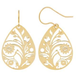 Fremada 10k Yellow Gold Flower Vine Teardrop Hook Earrings