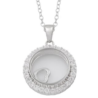 Fremada Rhodium Plated Sterling Silver and Cubic Zirconia Glass Case with Floating Heart Necklace