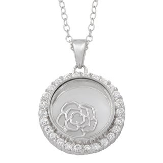 Fremada Rhodium Plated Sterling Silver and Cubic Zirconia Glass Case with Floating Flower Necklace