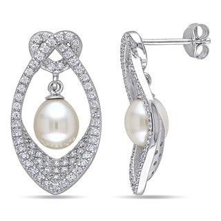 Miadora Sterling Silver Cultured White Pearl and Cubic Zirconia Earrings (6.5-7 MM)